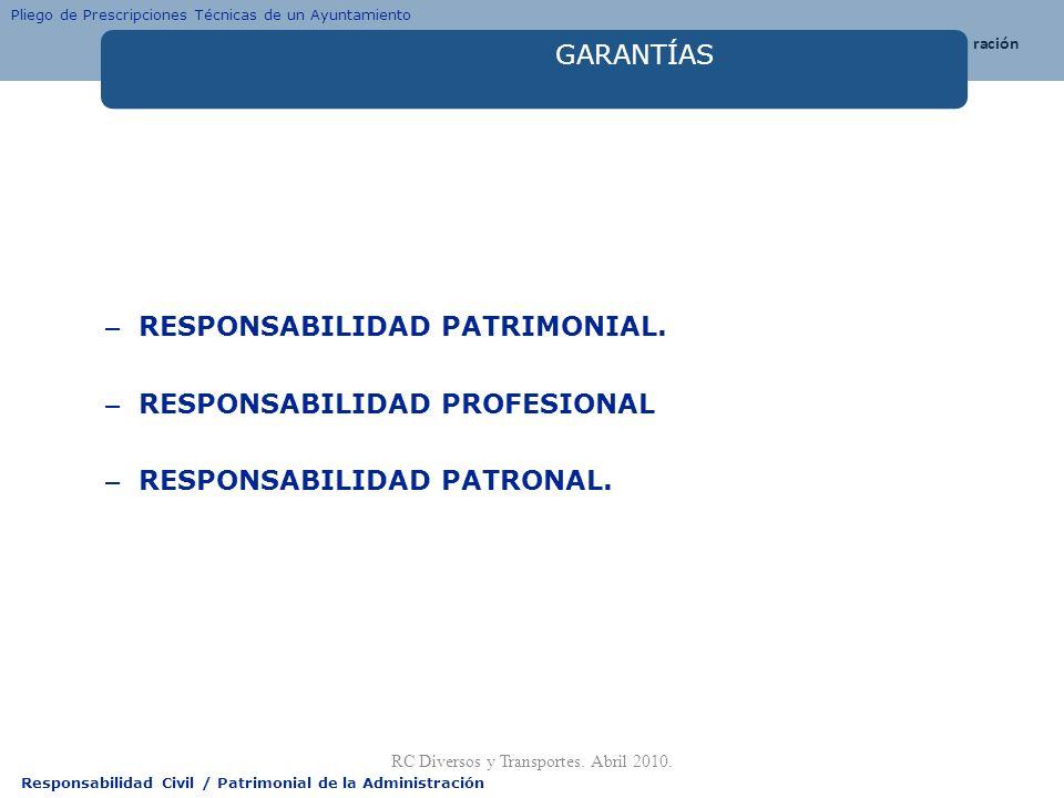 Responsabilidad Civil / Patrimonial de la Administración GARANTÍAS – RESPONSABILIDAD PATRIMONIAL. – RESPONSABILIDAD PROFESIONAL – RESPONSABILIDAD PATR