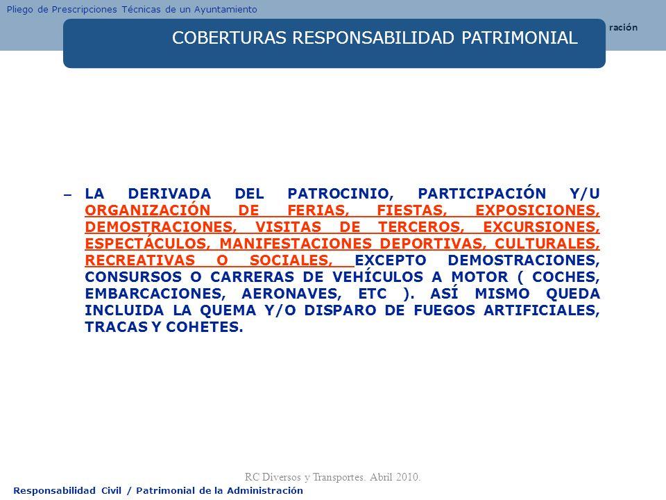Responsabilidad Civil / Patrimonial de la Administración COBERTURAS RESPONSABILIDAD PATRIMONIAL – LA DERIVADA DEL PATROCINIO, PARTICIPACIÓN Y/U ORGANI