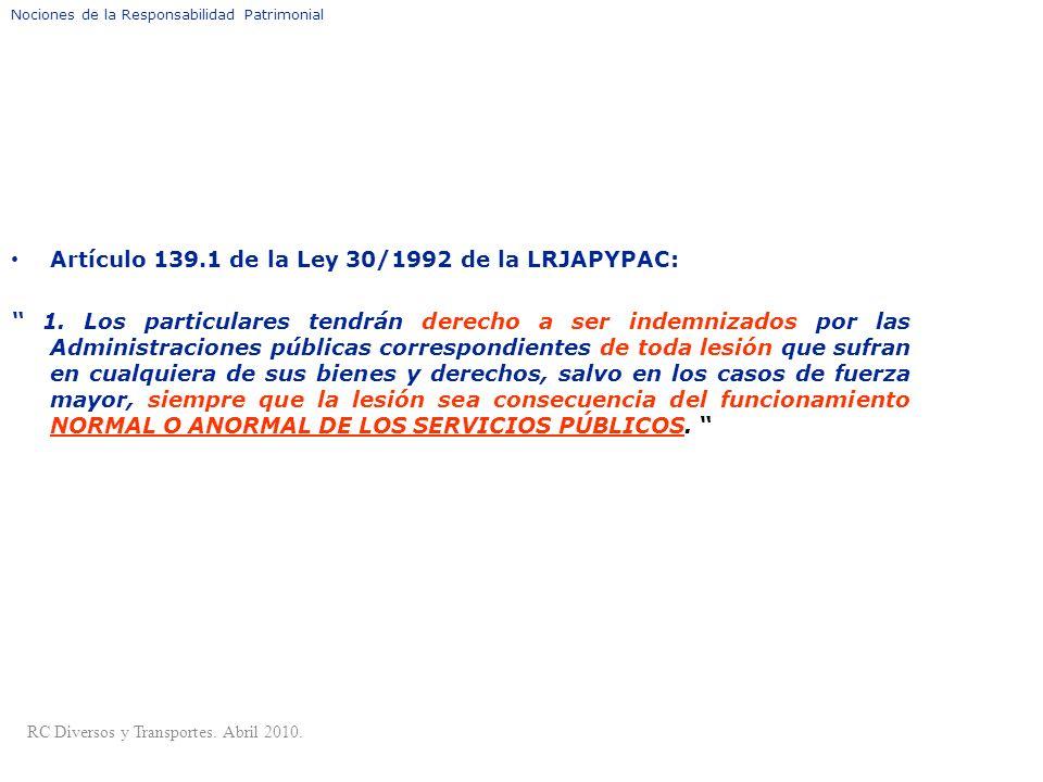 DEFINICIÓN DE RESPONSABILIDAD PATRIMONIAL Artículo 139.1 de la Ley 30/1992 de la LRJAPYPAC: 1. Los particulares tendrán derecho a ser indemnizados por