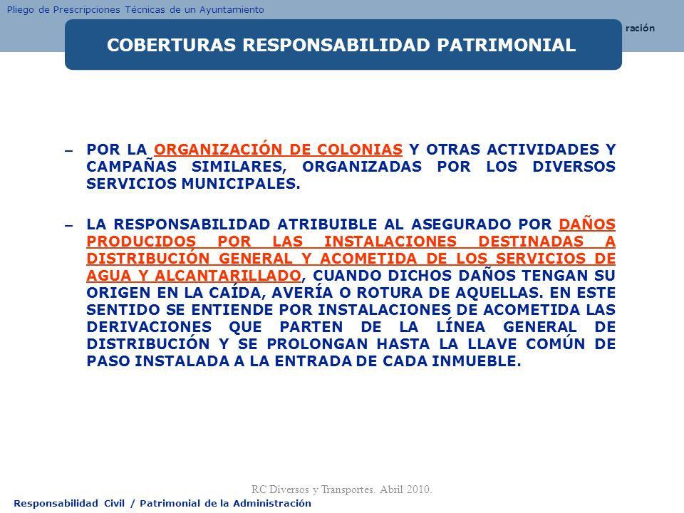 Responsabilidad Civil / Patrimonial de la Administración – POR LA ORGANIZACIÓN DE COLONIAS Y OTRAS ACTIVIDADES Y CAMPAÑAS SIMILARES, ORGANIZADAS POR L