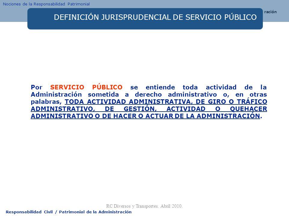 Responsabilidad Civil / Patrimonial de la Administración DEFINICIÓN JURISPRUDENCIAL DE SERVICIO PÚBLICO Por SERVICIO PÚBLICO se entiende toda activida