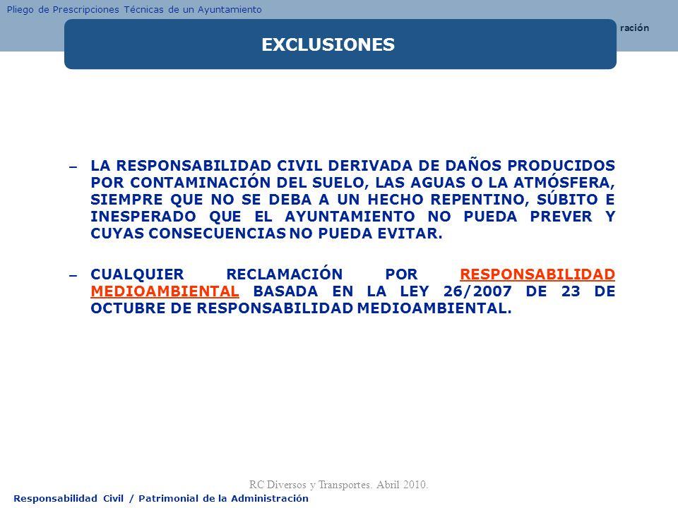 Responsabilidad Civil / Patrimonial de la Administración – LA RESPONSABILIDAD CIVIL DERIVADA DE DAÑOS PRODUCIDOS POR CONTAMINACIÓN DEL SUELO, LAS AGUA