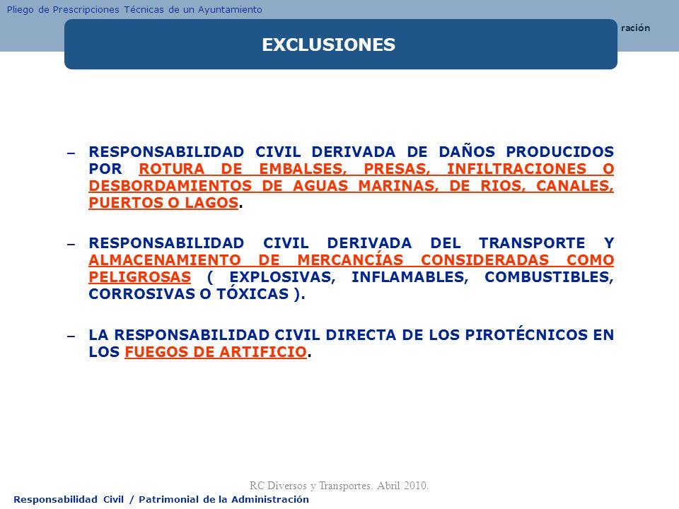 Responsabilidad Civil / Patrimonial de la Administración – RESPONSABILIDAD CIVIL DERIVADA DE DAÑOS PRODUCIDOS POR ROTURA DE EMBALSES, PRESAS, INFILTRA