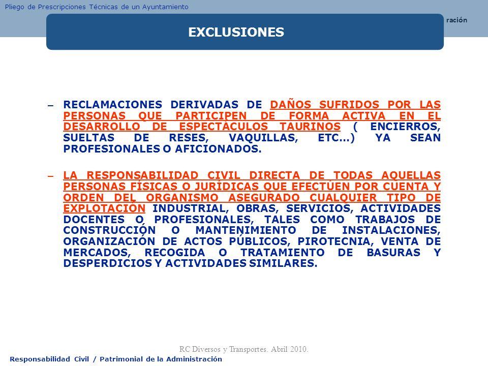 Responsabilidad Civil / Patrimonial de la Administración – RECLAMACIONES DERIVADAS DE DAÑOS SUFRIDOS POR LAS PERSONAS QUE PARTICIPEN DE FORMA ACTIVA E
