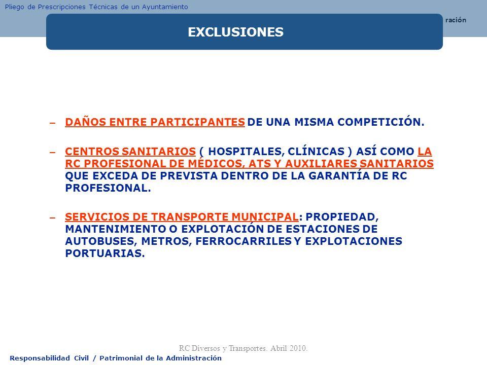 Responsabilidad Civil / Patrimonial de la Administración – DAÑOS ENTRE PARTICIPANTES DE UNA MISMA COMPETICIÓN. – CENTROS SANITARIOS ( HOSPITALES, CLÍN