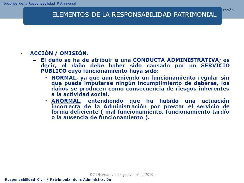Responsabilidad Civil / Patrimonial de la Administración ELEMENTOS DE LA RESPONSABILIDAD PATRIMONIAL ACCIÓN / OMISIÓN. – El daño se ha de atribuir a u