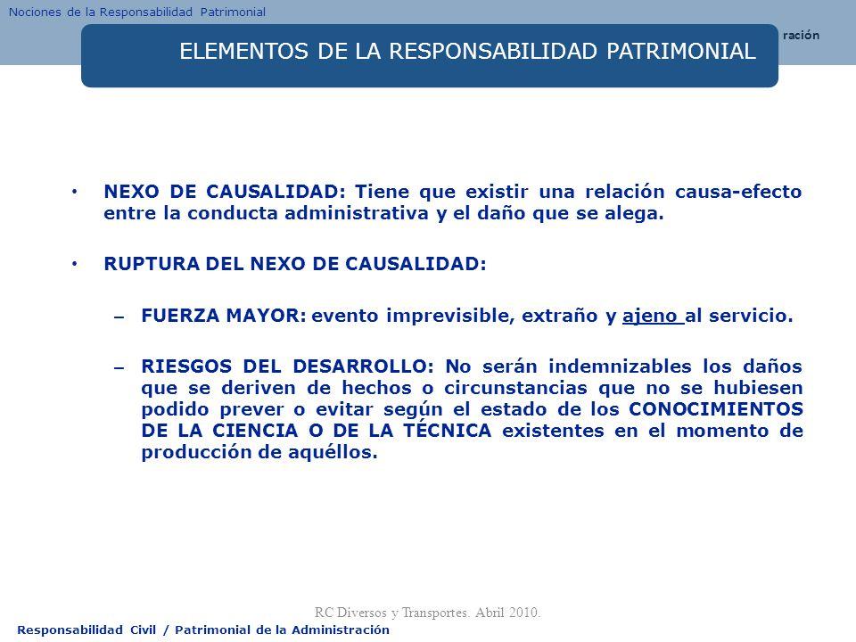 Responsabilidad Civil / Patrimonial de la Administración ELEMENTOS DE LA RESPONSABILIDAD PATRIMONIAL NEXO DE CAUSALIDAD: Tiene que existir una relació