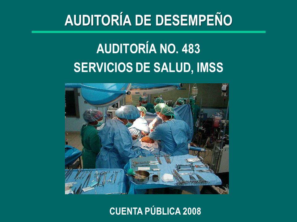 1 AUDITORÍA NO. 483 SERVICIOS DE SALUD, IMSS CUENTA PÚBLICA 2008 AUDITORÍA DE DESEMPEÑO