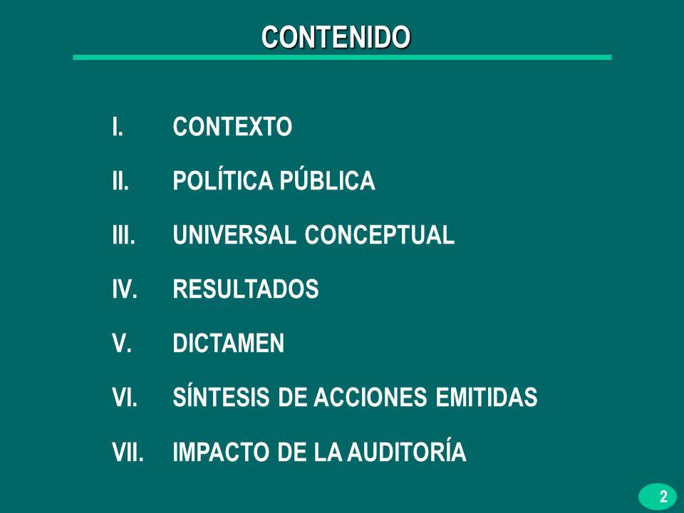 2 I.CONTEXTO II.POLÍTICA PÚBLICA III.UNIVERSAL CONCEPTUAL IV.RESULTADOS V.DICTAMEN VI.SÍNTESIS DE ACCIONES EMITIDAS VII.IMPACTO DE LA AUDITORÍA CONTENIDO