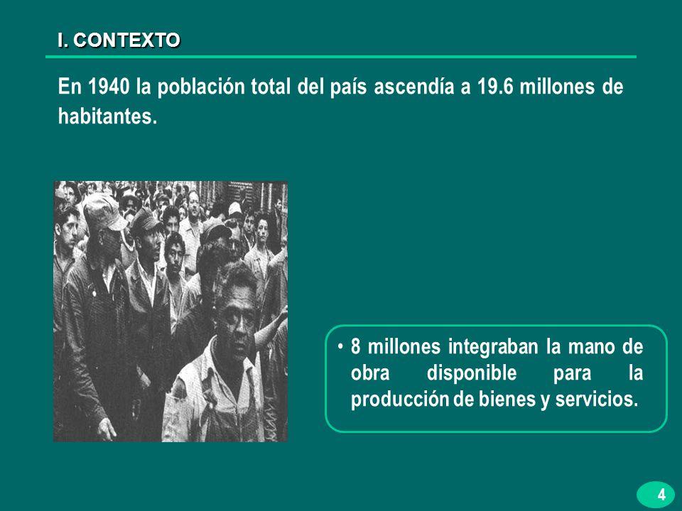 4 En 1940 la población total del país ascendía a 19.6 millones de habitantes.