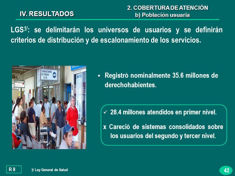 42 LGS 1/ : se delimitarán los universos de usuarios y se definirán criterios de distribución y de escalonamiento de los servicios.