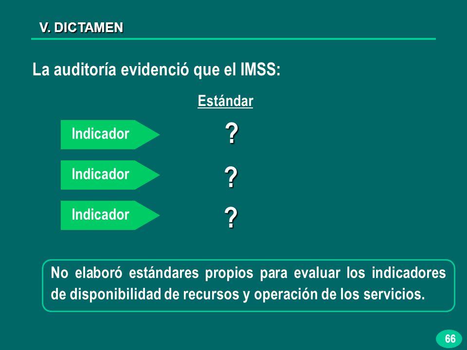 66 V. DICTAMEN La auditoría evidenció que el IMSS: No elaboró estándares propios para evaluar los indicadores de disponibilidad de recursos y operació