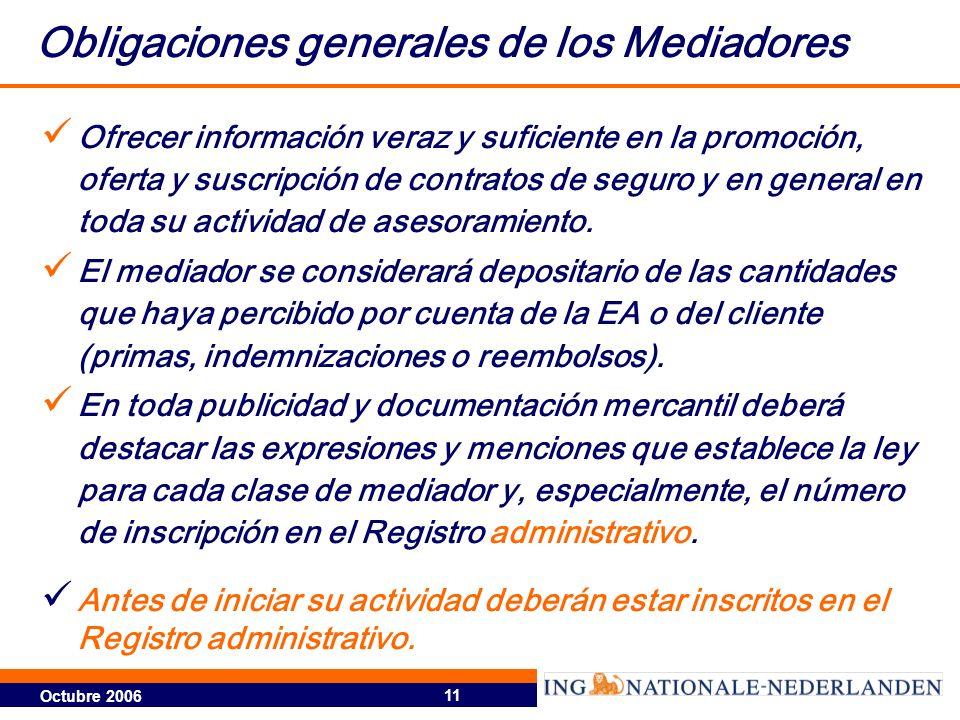 Octubre 2006 11 Obligaciones generales de los Mediadores Ofrecer información veraz y suficiente en la promoción, oferta y suscripción de contratos de seguro y en general en toda su actividad de asesoramiento.