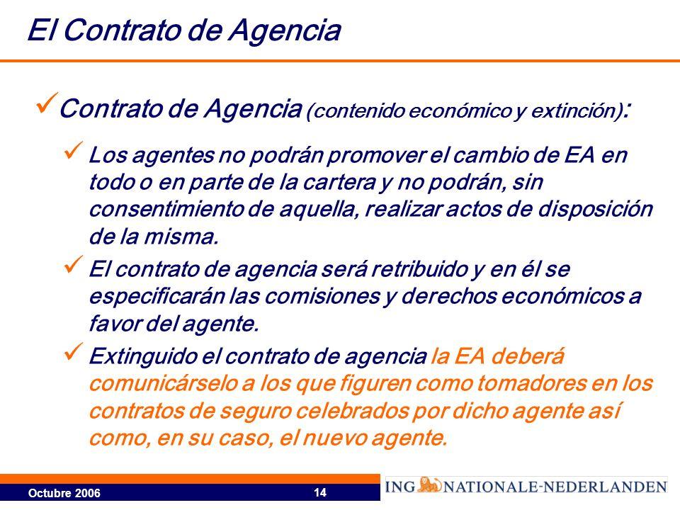 Octubre 2006 14 El Contrato de Agencia Contrato de Agencia (contenido económico y extinción) : Los agentes no podrán promover el cambio de EA en todo