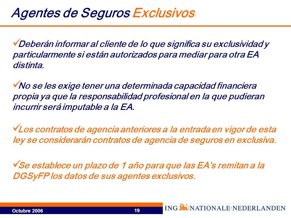 Octubre 2006 19 Agentes de Seguros Exclusivos No se les exige tener una determinada capacidad financiera propia ya que la responsabilidad profesional en la que pudieran incurrir será imputable a la EA.