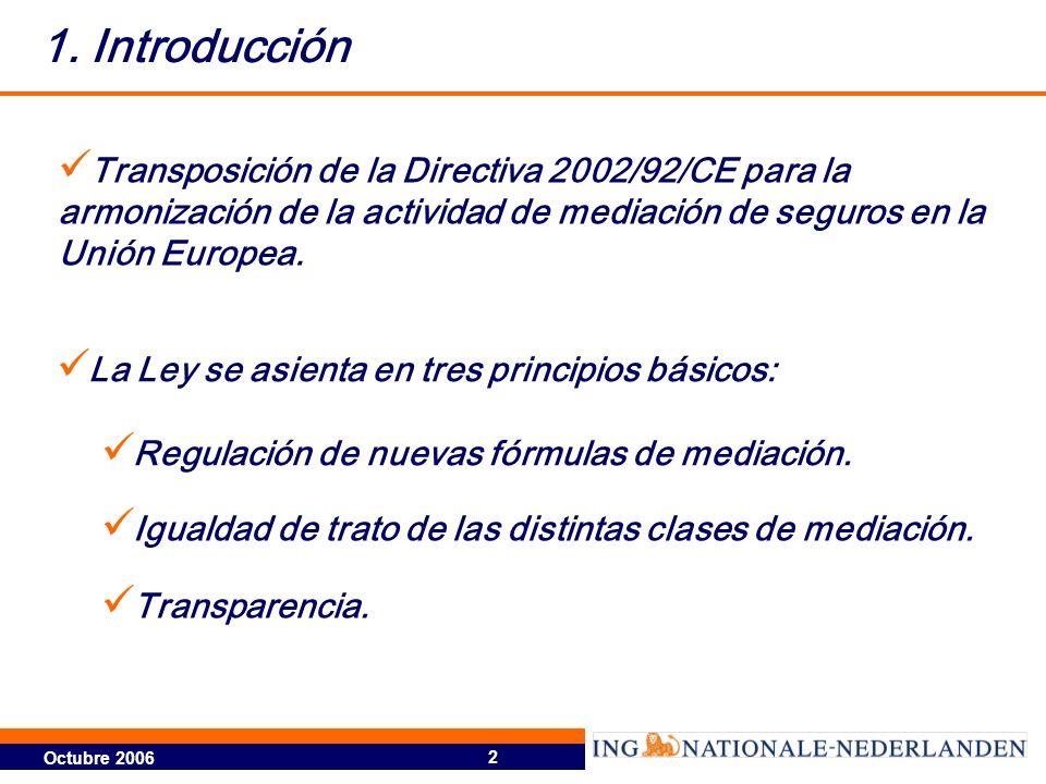Octubre 2006 2 1. Introducción Transposición de la Directiva 2002/92/CE para la armonización de la actividad de mediación de seguros en la Unión Europ