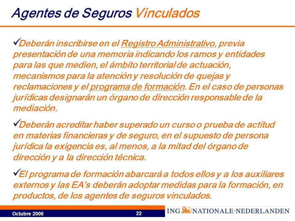 Octubre 2006 22 Deberán inscribirse en el Registro Administrativo, previa presentación de una memoria indicando los ramos y entidades para las que med