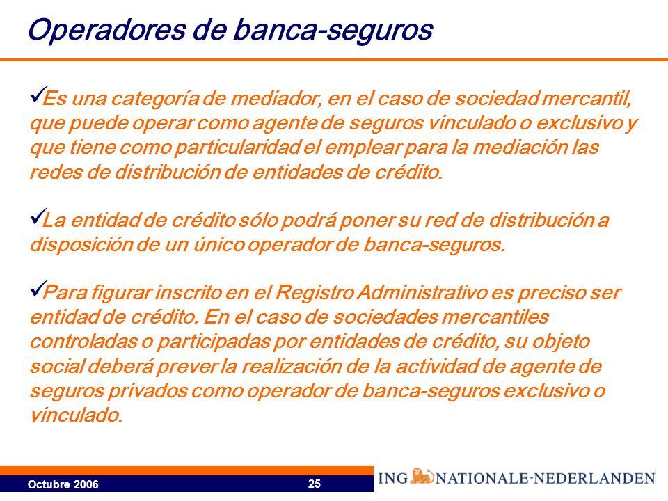 Octubre 2006 25 Operadores de banca-seguros Es una categoría de mediador, en el caso de sociedad mercantil, que puede operar como agente de seguros vinculado o exclusivo y que tiene como particularidad el emplear para la mediación las redes de distribución de entidades de crédito.