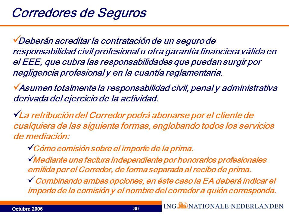 Octubre 2006 30 Corredores de Seguros Deberán acreditar la contratación de un seguro de responsabilidad civil profesional u otra garantía financiera v