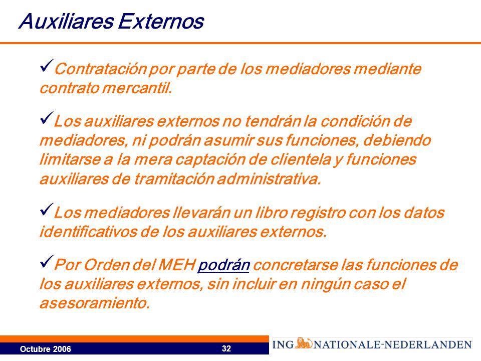 Octubre 2006 32 Contratación por parte de los mediadores mediante contrato mercantil. Los auxiliares externos no tendrán la condición de mediadores, n