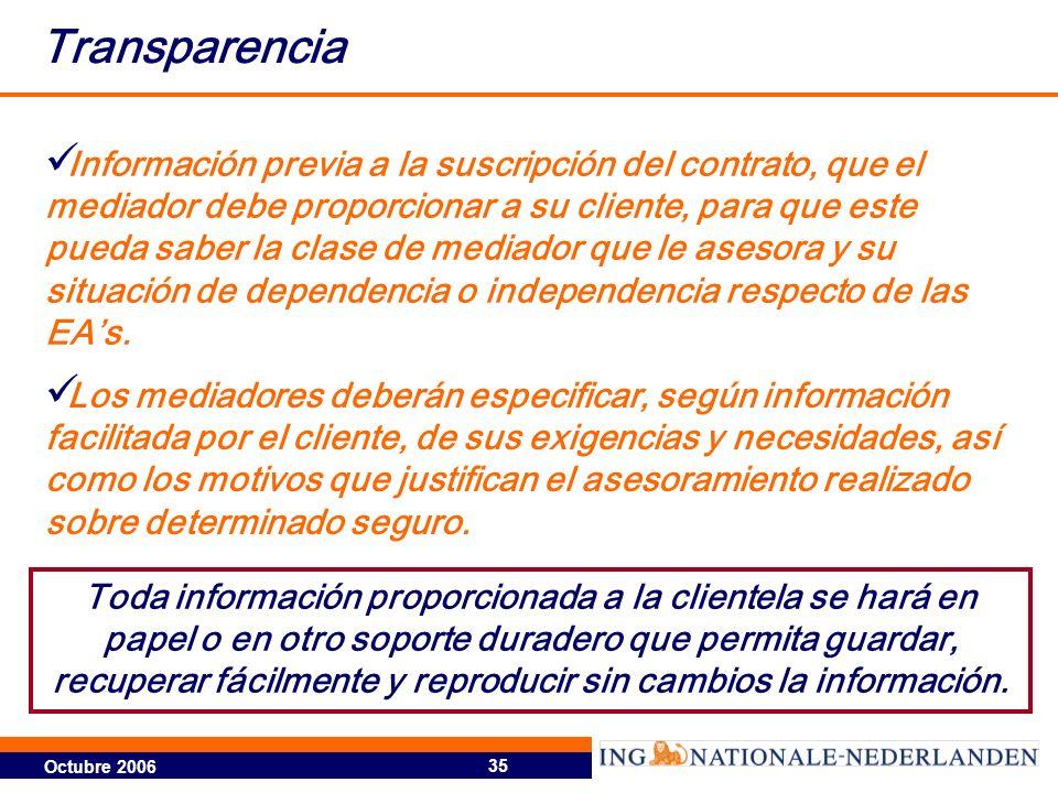 Octubre 2006 35 Transparencia Información previa a la suscripción del contrato, que el mediador debe proporcionar a su cliente, para que este pueda saber la clase de mediador que le asesora y su situación de dependencia o independencia respecto de las EAs.