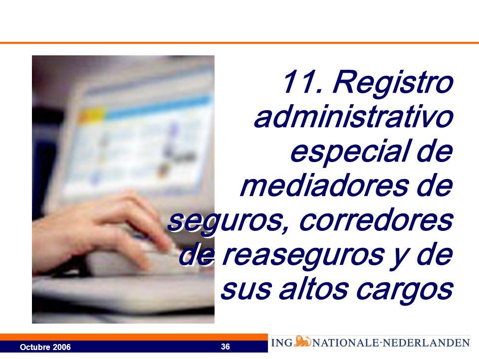 Octubre 2006 36 11. Registro administrativo especial de mediadores de seguros, corredores de reaseguros y de sus altos cargos