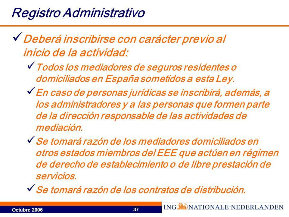 Octubre 2006 37 Registro Administrativo Deberá inscribirse con carácter previo al inicio de la actividad: Todos los mediadores de seguros residentes o domiciliados en España sometidos a esta Ley.