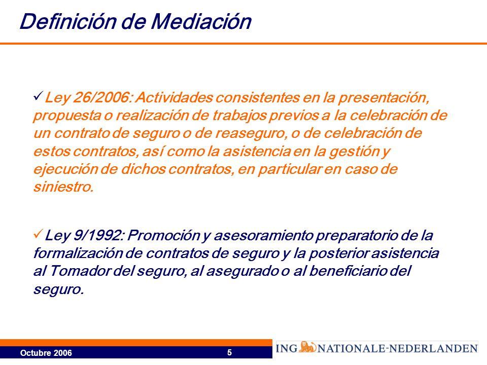 Octubre 2006 5 Definición de Mediación Ley 26/2006: Actividades consistentes en la presentación, propuesta o realización de trabajos previos a la cele