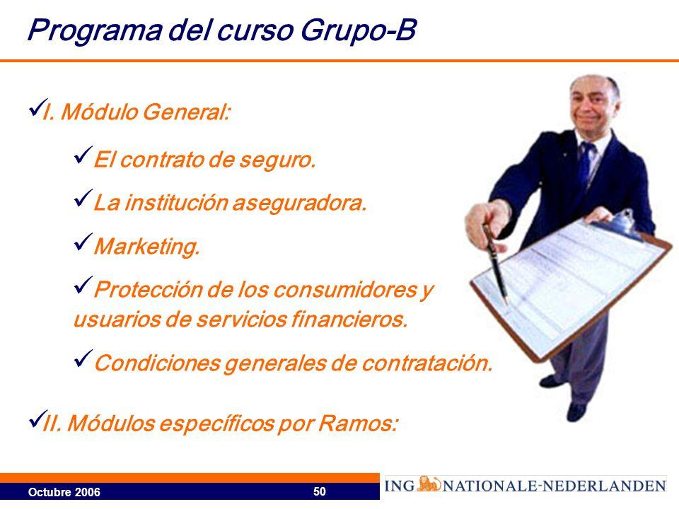 Octubre 2006 50 Programa del curso Grupo-B El contrato de seguro. La institución aseguradora. Marketing. Protección de los consumidores y usuarios de