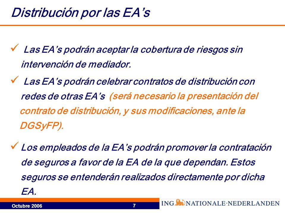 Octubre 2006 7 Distribución por las EAs Las EAs podrán aceptar la cobertura de riesgos sin intervención de mediador. Las EAs podrán celebrar contratos