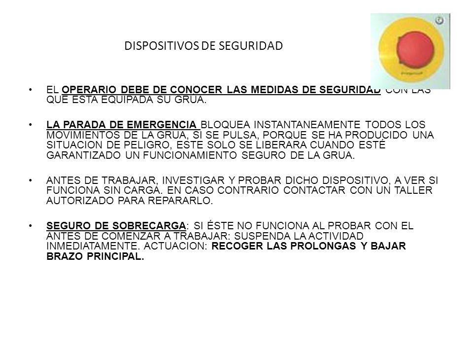 DISPOSITIVOS DE SEGURIDAD EL OPERARIO DEBE DE CONOCER LAS MEDIDAS DE SEGURIDAD CON LAS QUE ESTA EQUIPADA SU GRÚA.
