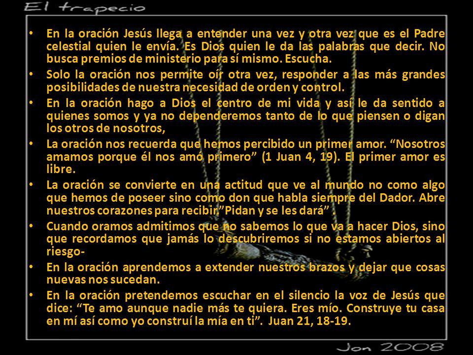 En la oración Jesús llega a entender una vez y otra vez que es el Padre celestial quien le envía.