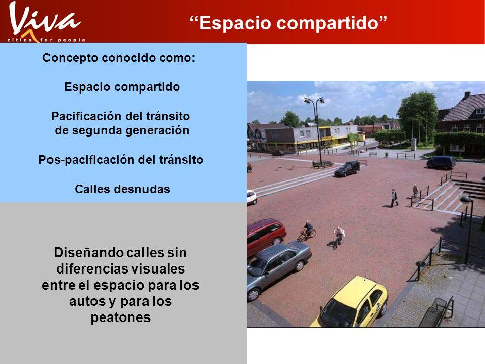 Espacio compartido Concepto conocido como: Espacio compartido Pacificación del tránsito de segunda generación Pos-pacificación del tránsito Calles des