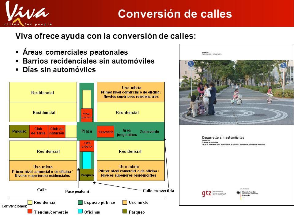 Conversión de calles Viva ofrece ayuda con la conversión de calles: Áreas comerciales peatonales Barrios recidenciales sin automóviles Días sin automó