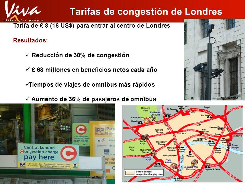 Tarifas de congestión de Londres Tarifa de £ 8 (16 US$) para entrar al centro de Londres Resultados: Reducción de 30% de congestión £ 68 millones en b