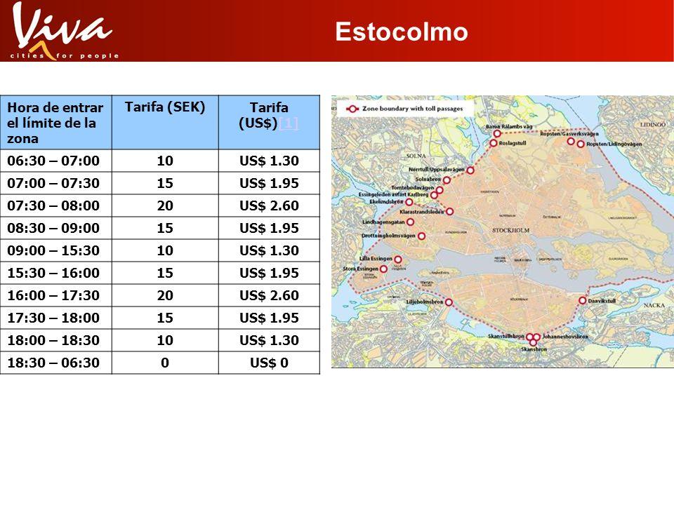 Estocolmo Hora de entrar el límite de la zona Tarifa (SEK)Tarifa (US$)[1][1] 06:30 – 07:0010US$ 1.30 07:00 – 07:3015US$ 1.95 07:30 – 08:0020US$ 2.60 0