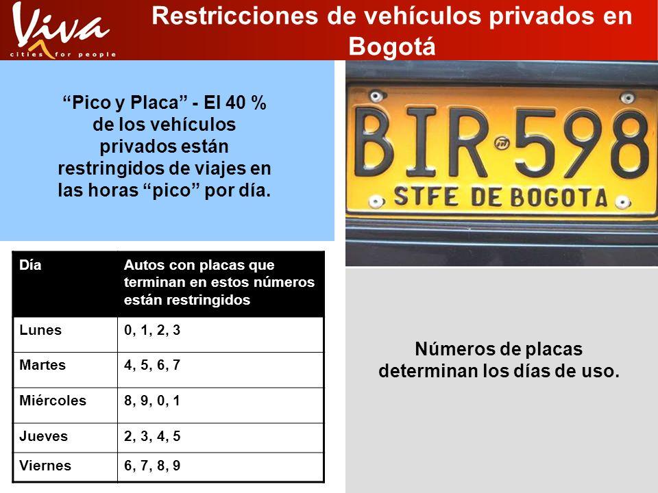 Restricciones de vehículos privados en Bogotá DíaAutos con placas que terminan en estos números están restringidos Lunes0, 1, 2, 3 Martes4, 5, 6, 7 Mi
