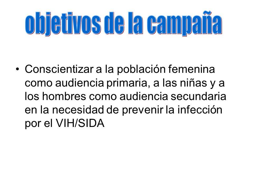 Conscientizar a la población femenina como audiencia primaria, a las niñas y a los hombres como audiencia secundaria en la necesidad de prevenir la infección por el VIH/SIDA