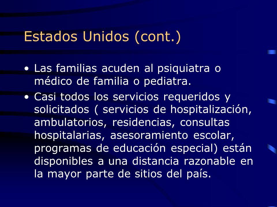 Estados Unidos (cont.) Las familias acuden al psiquiatra o médico de familia o pediatra. Casi todos los servicios requeridos y solicitados ( servicios