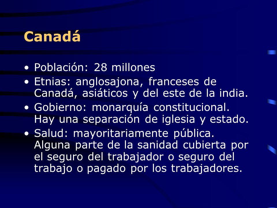 Canadá Población: 28 millones Etnias: anglosajona, franceses de Canadá, asiáticos y del este de la india. Gobierno: monarquía constitucional. Hay una