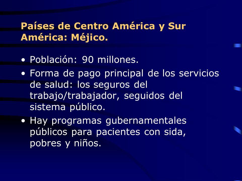 Países de Centro América y Sur América: Méjico. Población: 90 millones. Forma de pago principal de los servicios de salud: los seguros del trabajo/tra