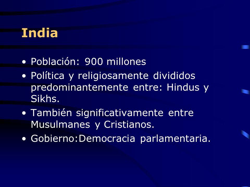 India Población: 900 millones Política y religiosamente divididos predominantemente entre: Hindus y Sikhs. También significativamente entre Musulmanes