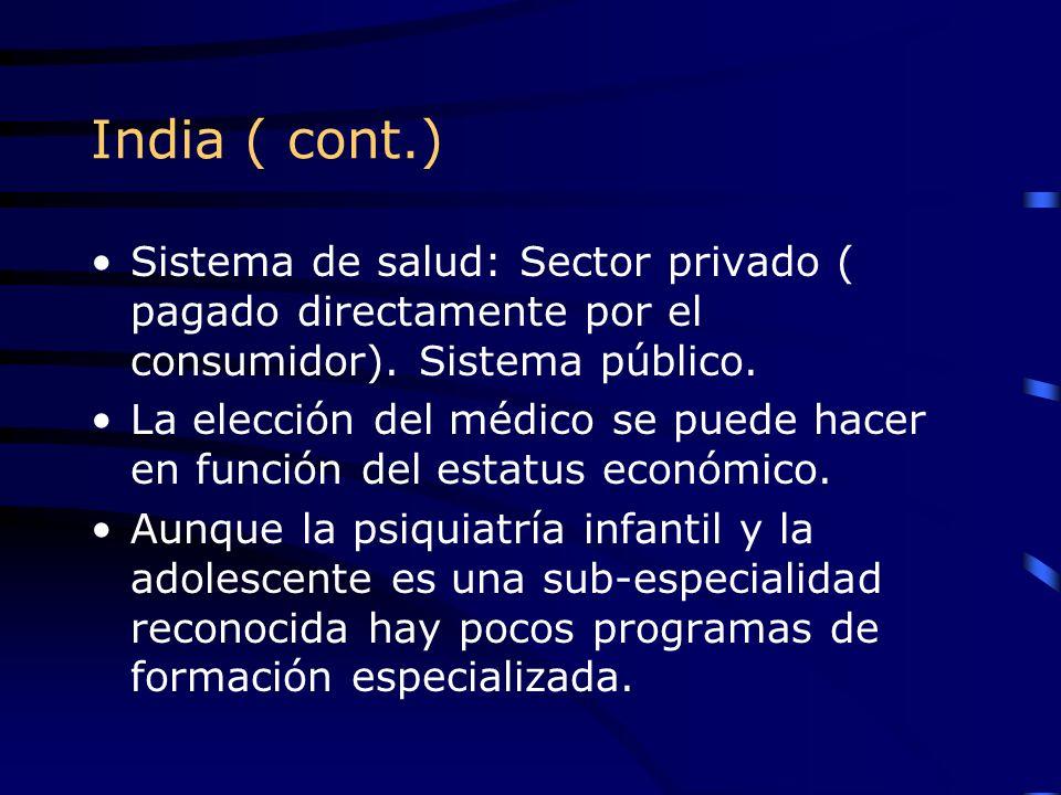 India ( cont.) Sistema de salud: Sector privado ( pagado directamente por el consumidor). Sistema público. La elección del médico se puede hacer en fu