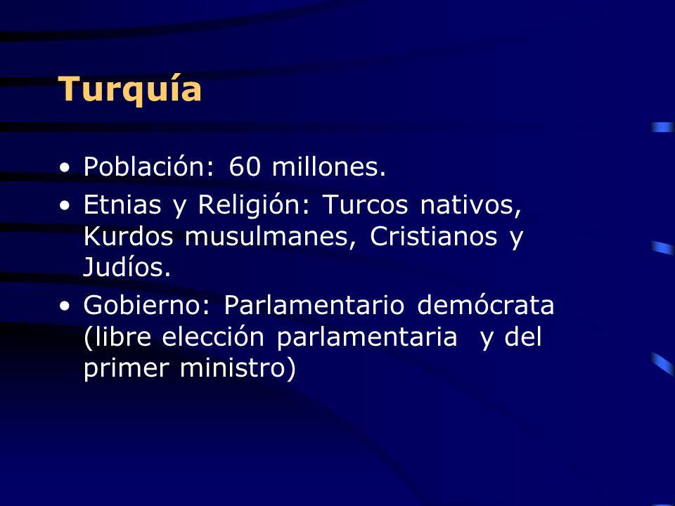 Turquía Población: 60 millones. Etnias y Religión: Turcos nativos, Kurdos musulmanes, Cristianos y Judíos. Gobierno: Parlamentario demócrata (libre el