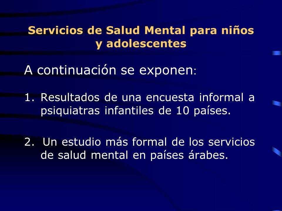 Servicios de Salud Mental para niños y adolescentes A continuación se exponen : 1.Resultados de una encuesta informal a psiquiatras infantiles de 10 p