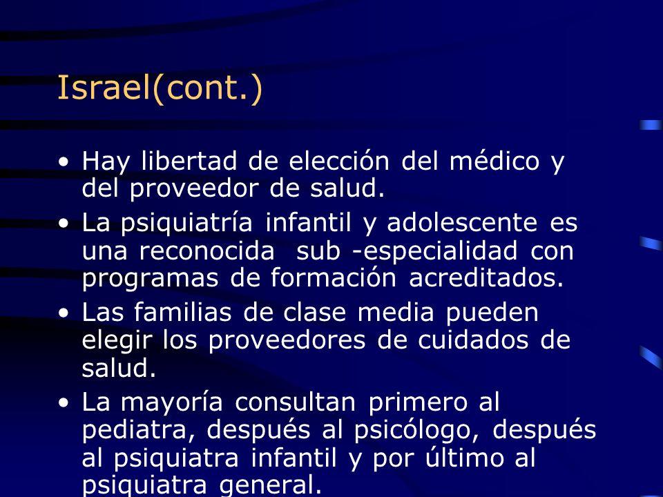 Israel(cont.) Hay libertad de elección del médico y del proveedor de salud. La psiquiatría infantil y adolescente es una reconocida sub -especialidad