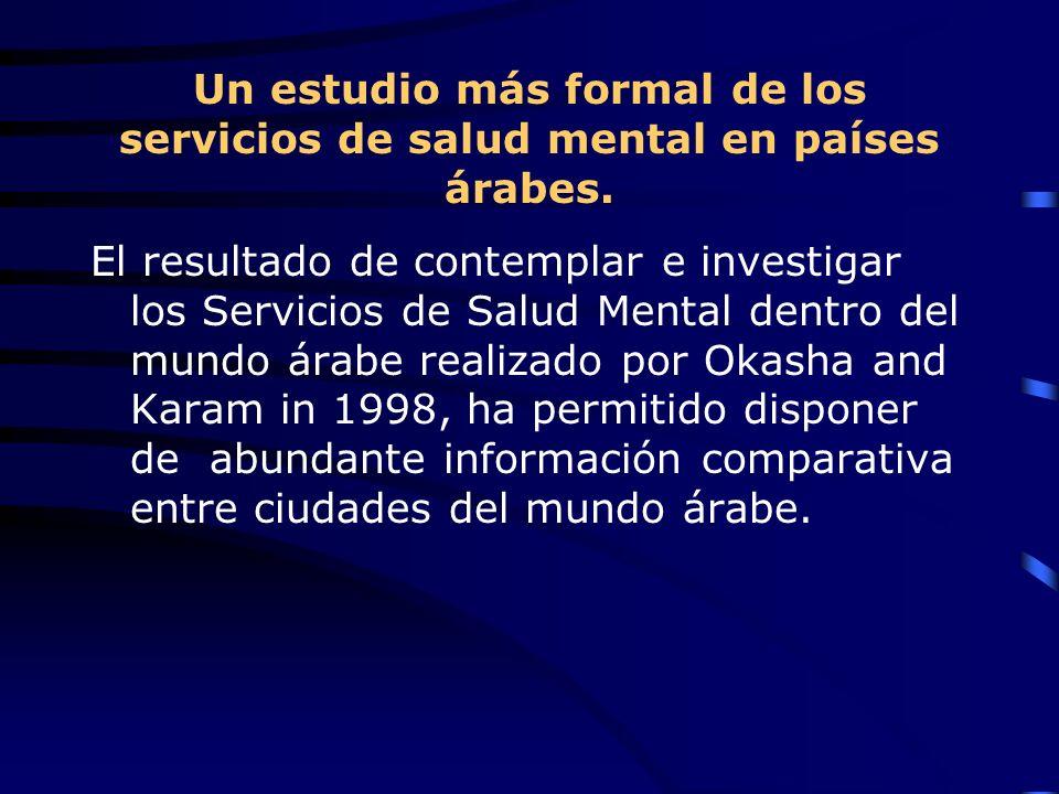 Un estudio más formal de los servicios de salud mental en países árabes. El resultado de contemplar e investigar los Servicios de Salud Mental dentro