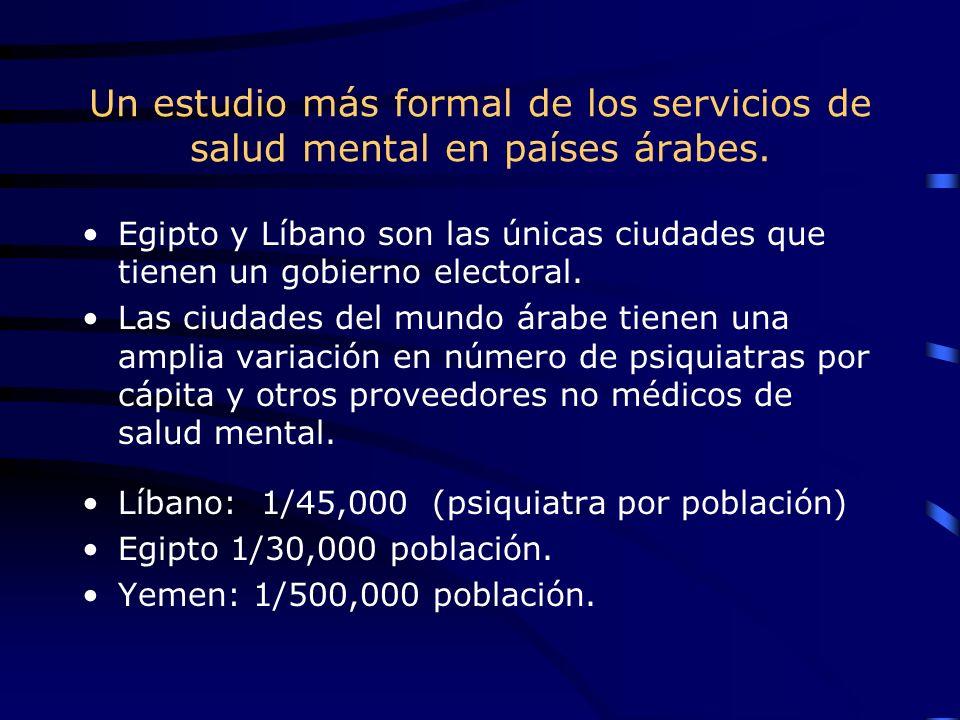 Un estudio más formal de los servicios de salud mental en países árabes. Egipto y Líbano son las únicas ciudades que tienen un gobierno electoral. Las