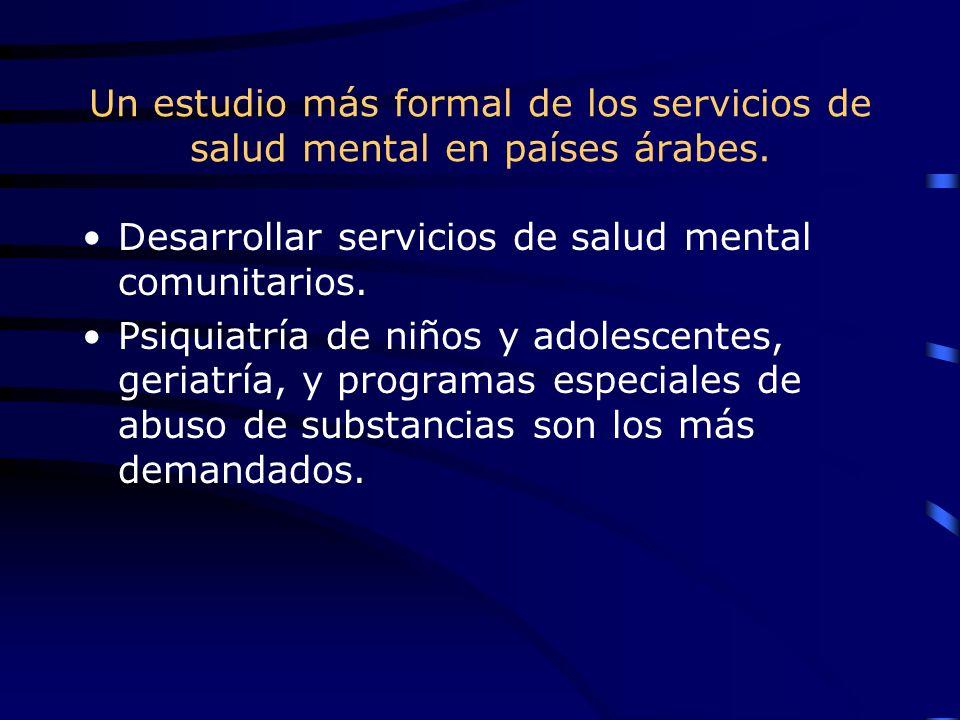 Un estudio más formal de los servicios de salud mental en países árabes. Desarrollar servicios de salud mental comunitarios. Psiquiatría de niños y ad