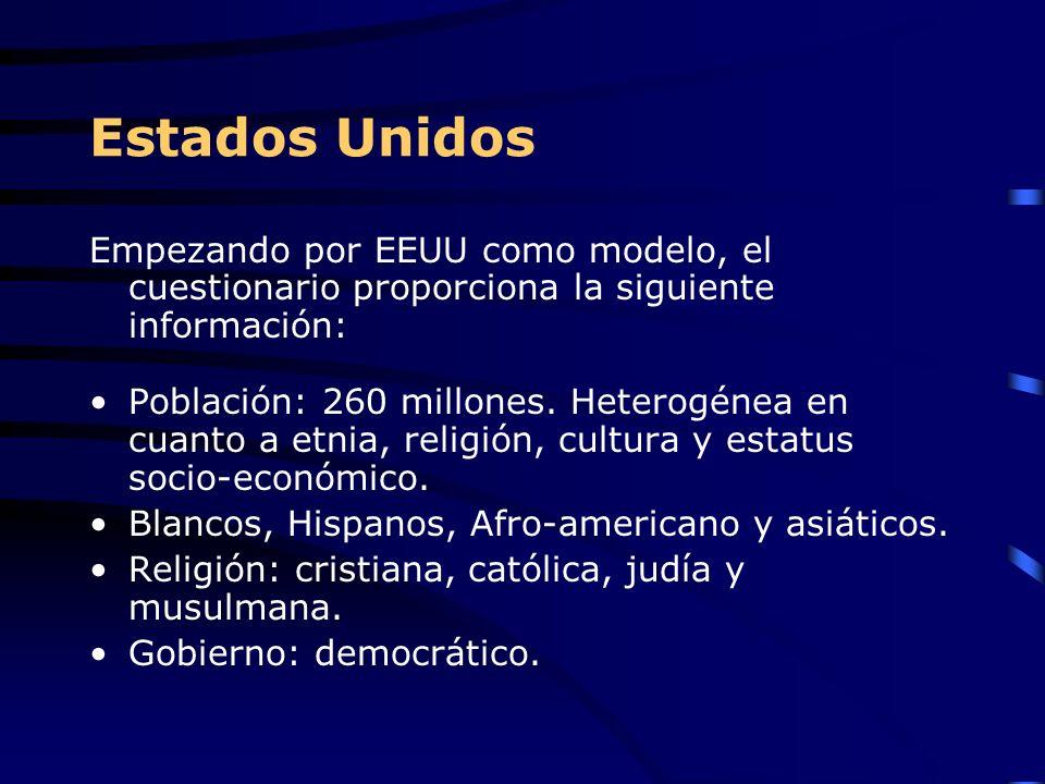 Estados Unidos Empezando por EEUU como modelo, el cuestionario proporciona la siguiente información: Población: 260 millones. Heterogénea en cuanto a